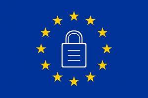 Bandeira Europeia com cadeado RGPD